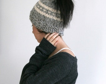 Messy Bun Hat, Chunky Ponytail Hat, Messy Bun Beanie // Marble Grey and Fisherman//