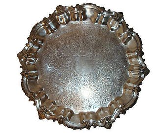 "Large 15"" Silverplate Scalloped Serving Tray, Footed Platter"