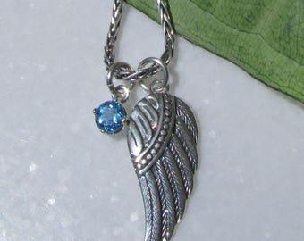 Angel Wing Charm Necklace, Genuine Blue Topaz, Sterling Silver Angel Wing Pendant, Sterling Silver Chain, Blue Topaz, November Birthstone