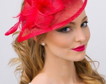 "Red Fascinator - ""Penny"" Mesh Hat Fascinator with Mesh Ribbons and Red Feathers"