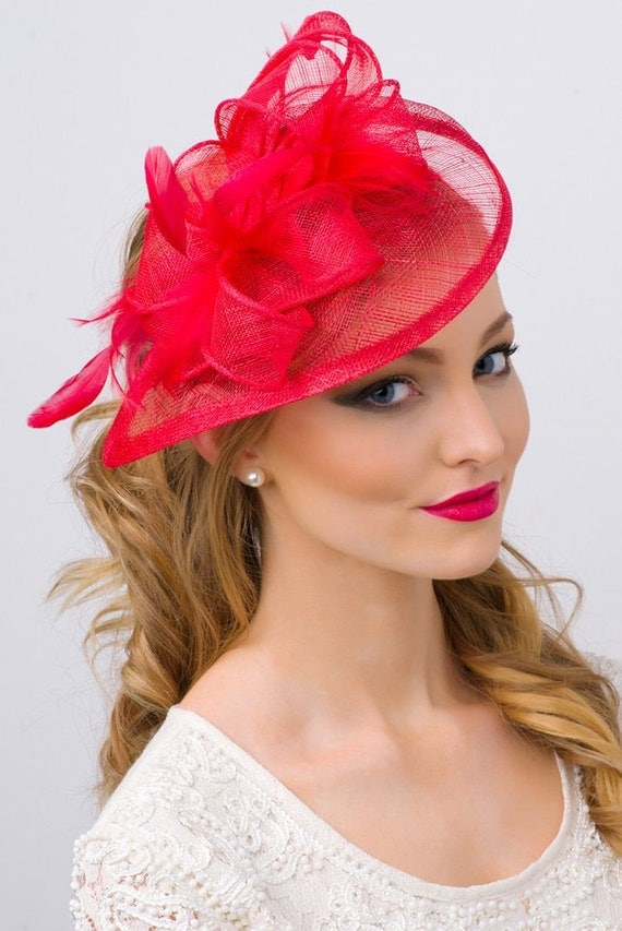 """Red Fascinator - """"Penny"""" Mesh Hat Fascinator with Mesh Ribbons and Red Feathers"""