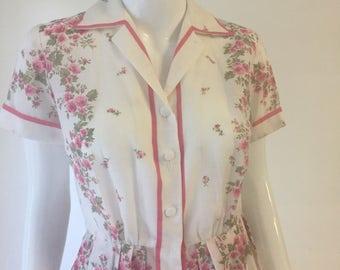 Vintage 50s Pink Rose R&K Original Shirtwaist Dress