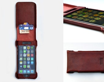 iPhone 7 flip case. Leather flip case for iPhone 7. Red leather