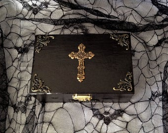 Black Antique Brass Cross Victorian Jewelry Trinket Box
