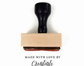 Custom Made with Love by [YOUR BUSINESS NAME] Rubber Stamp - Hand Made with Love by Your Small Biz Business - Wood Mounted Rubber Stamp