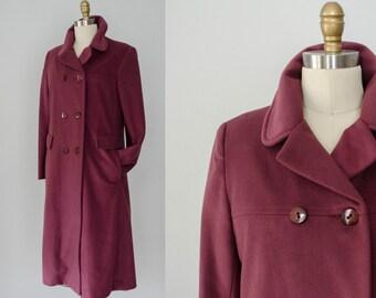 1970s vintage coat / long plum red coat / Velana / large