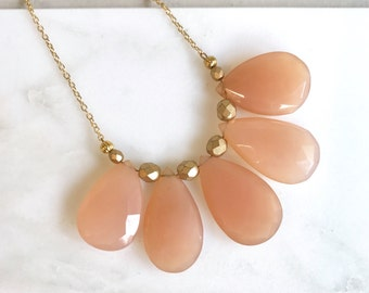 Bib Necklace in Peach Jade. Statement Jewelry. Bib Statement Necklace. Gift.  Modern Jewelry.  Mint Statement Jewelry.  Modern.