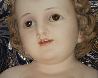 Antique Baby Jesus Statue with Glass Eyes.  Vintage 1930's Chalkware religious statue.