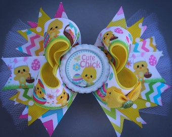 Easter Bow, Easter Hair Bow, Spring Bow, Spring Hair Bow, Easter Boutique Hair Bow, Easter Boutique Bow, Cute Chick Bow, Spring Easter Bow,