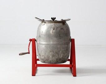 SALE vintage industrial tumbler, metal barrel on stand