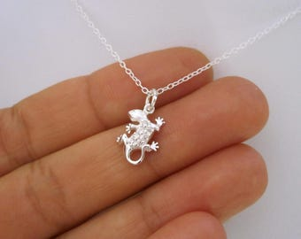 Small GECKO lizard with CZ stones sterling silver pendant with chain necklace