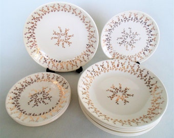 11 Pieces French Saxon China 22K Gold Floral Design Sebring Ohio 5 Bread & Butter Plates And 6 Large Soup/Salad Bowls VERY NICE CONDITION