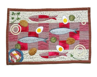 Fish kitchen decor, textile wall hanging