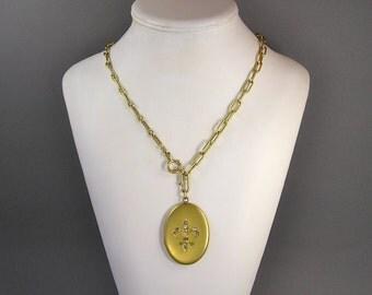 Fleur de Lis Locket, Watch Chain Necklace, Photo Locket, Large, Rhinestone, Edwardian, Victorian, Matte Gold, Vintage European Jewelry