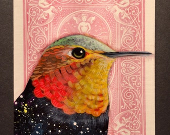 Allen's Hummingbird Universe on a playing cards. Original acrylic painting. 2017