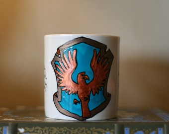 Small Ravenclaw House Crest Mug - Pottermore Eagle Crest - Hand-Painted Ceramic Mug