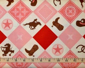 Riley Blake. Cowgirl. Main Multi - BTY Cotton Fabric - Choose your cut