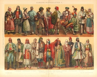 1893 European National Costumes, Folk Dresses or Traditional Garments II. Original Antique Chromolithograph