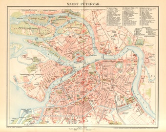 1897 Antique City Map of Saint Petersburg at the End of the 19th Century