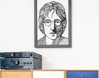 John Lennon Portrait Print   The Beatles Poster   Lennon   magine Art Print
