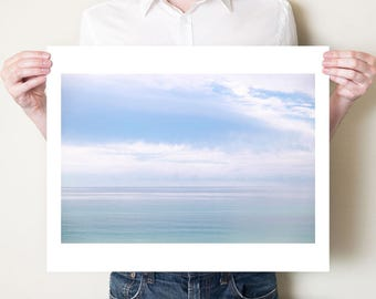 Ethereal seascape photography print, minimal Florida ocean clouds fine art photograph. Blue Gulf of Mexico artwork. Photo by Tom Bland