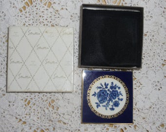 Vintage Stratton Compact Mirror, Original Box and Bag, Blue Flowers & Gold Filigree Lid, Brass Case, Ladies Purse Mirror, Made in England