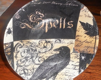 8 inch gothic salad plate, desert plate, halloween, spells, skulls, creepy