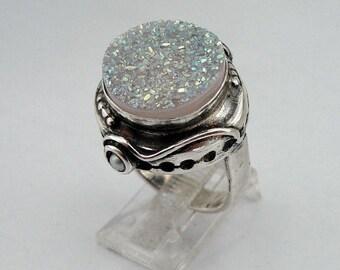 Druzy agate silver ring, Hadar Jewelry Handcrafted Israel Art Sterling Silver Druzy Agate Ring size 8 (H156)