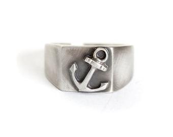 Christmas gift for boyfriendGift for Him, Anchor Ring Mens Ring Size 9 in Sterling Silver – Gift for Sailors Silver Ring,  Captain Ring