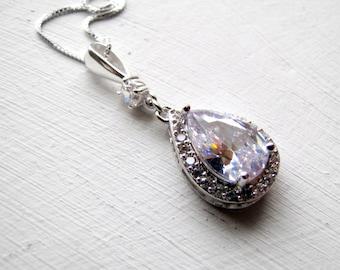 Sterling Silver Cubic Zirconia Necklace Bridal Necklace Bridal Jewelry Sterling Silver Necklace Rhinestone Teardrop Necklace Formal Jewelry