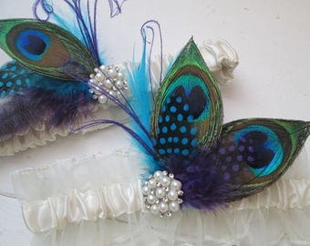 Peacock Wedding Garter Set, Something Blue, Turquoise and Purple Garter, Gatsby- Rustic Bride Garters w/ Pearls, Teal & Purple Feathers