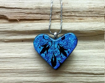 Turquoise blue dichroic fused glass heart pendant with black floral design stainless steel chain 056