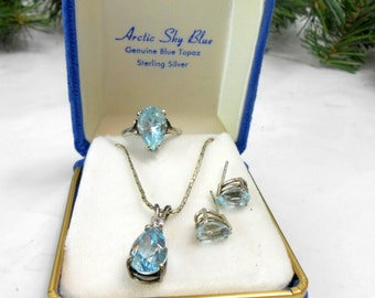 PERFECT WEDDING JEWELRY vintage sky blue topaz solitaire ring necklace post earrings original box wedding bridal sterling every girls dream