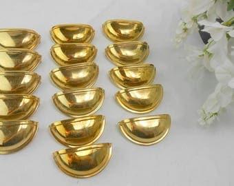 Vintage brass drawer pulls vintage brass cabinet pulls brass half moon pulls brass half round drawer pulls set of 16 brass pulls
