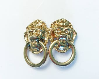 Vintage Gold Lions Clip On Earrings with Diamonds on Eyes
