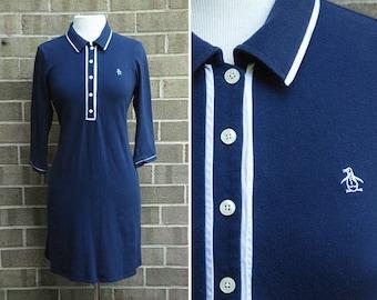 Vintage Penguin Mod Two-Tone Polo Dress / Size L