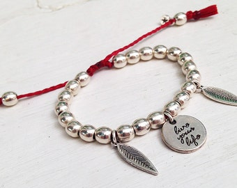 "The ""live your life"" metal beaded bracelet"