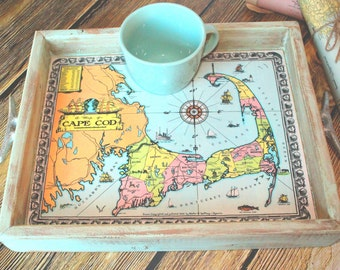 Custom Serving Tray_Custom Map_Rustic Wooden decorative tray_Nautical Shabby chic home decor_Boat Cleats_Personalized gift_Housewarming gift