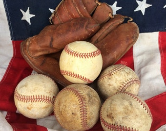 Grubby Vintage Baseballs That Just Came Home From The Ball Field