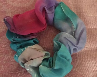 Two Handpainted Silk Scrunchies by The Silk Maid in Jewel Colours