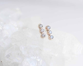 Triple Diamond Line Earrings | Diamond Bezel Earrings | 14k Recycled Gold