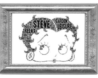 Betty Boop Birthday Christmas Gift Personalised Word Art Print