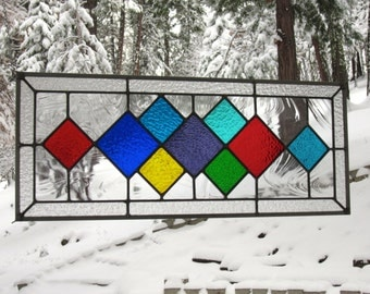 Multi Colored Diamonds Glass Window