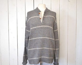 15% OFF - 7 Day Sale Wool Knit Sweater 1980s Nautical Style Striped Pullover Blue Gray Vintage Sweater Large XL