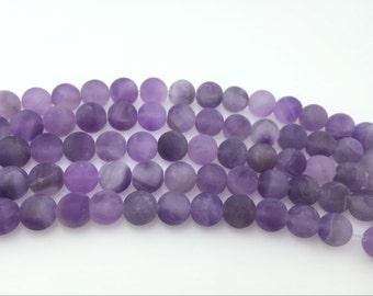 4mm / 6mm / 8 mm / 10mm / 12mm Round Matte Amethyst 15''L, 38 cm Loose beads Semiprecious Gemstone Bead Wholesale Beads Supply