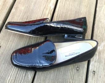 90s Liz Claiborne glossy black reptile print loafers US 6/EUR 36/UK 4