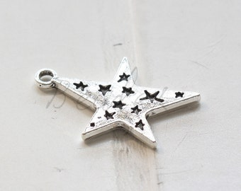10pcs / Star / Oxidized Silver Tone / Base Metal / 28x20mm  (X1780//B16)
