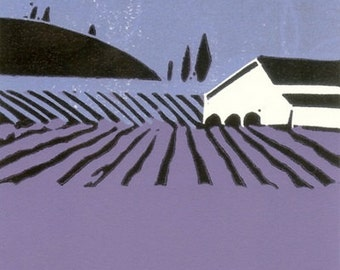 Lavander View Limited Edition Linocut Hand Pulled - Purple and Black - Magical Tuscany,Original Print by Giuliana Lazzerini.