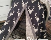 Carseat Canopy Navy Buck Grey Bark REVERSIBLE 2 covers in 1 Deer Tree Cover