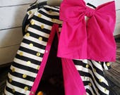 Carseat Canopy Black Gold Dot Shocking Pink Cover with Large Bow